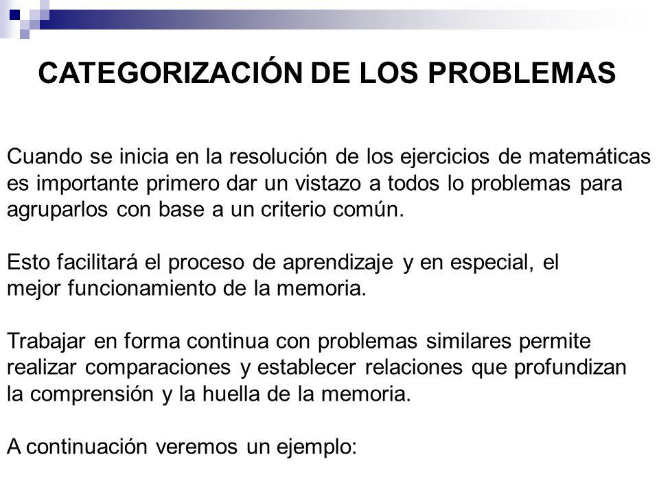 CATEGORIZACIÓN DE LOS PROBLEMAS Cuando se inicia en la resolución de los ejercicios de matemáticas es importante primero dar un vistazo a todos lo problemas para agruparlos con base a un criterio común.
