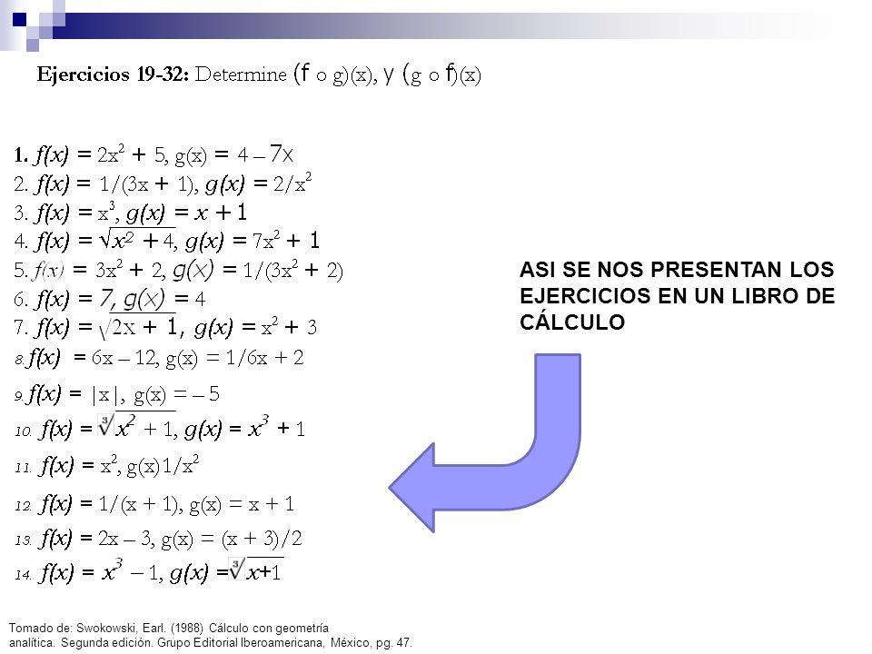 ASI SE NOS PRESENTAN LOS EJERCICIOS EN UN LIBRO DE CÁLCULO Tomado de: Swokowski, Earl. (1988) Cálculo con geometría analítica. Segunda edición. Grupo