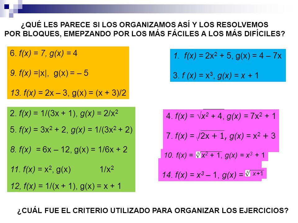 6. f(x) = 7, g(x) = 4 9. f(x) =|x|, g(x) = – 5 13. f(x) = 2x – 3, g(x) = (x + 3)/2 1.f(x) = 2x 2 + 5, g(x) = 4 – 7x 3. f (x) = x 3, g(x) = x + 1 2. f(