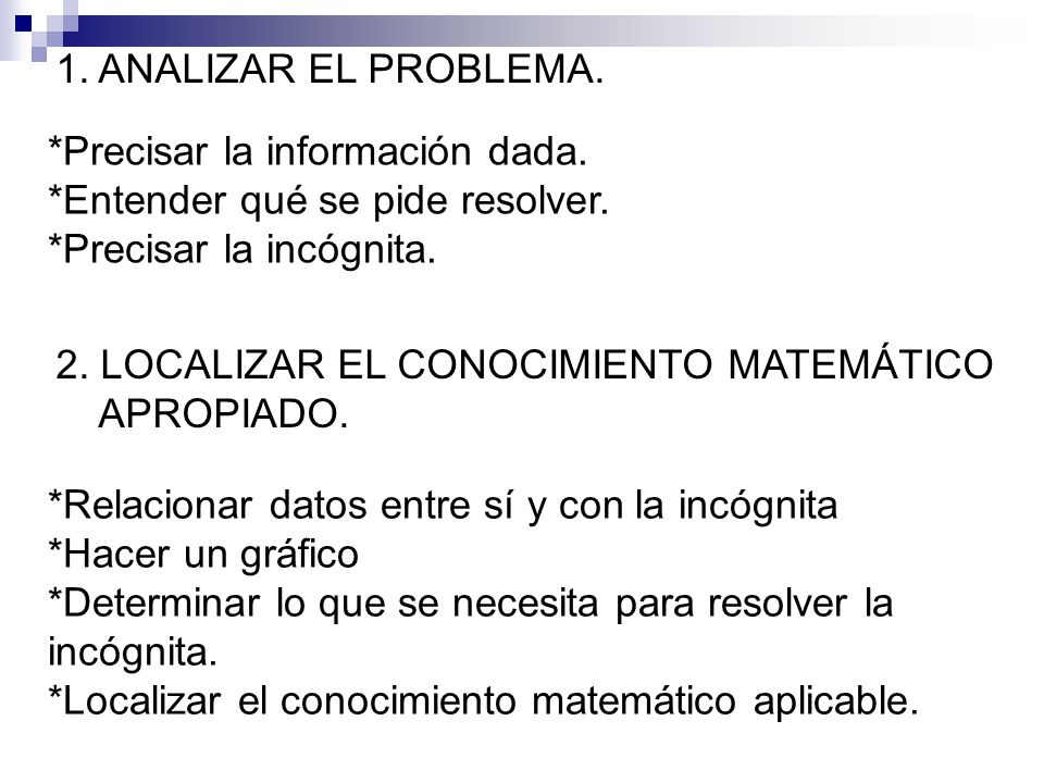 *Precisar la información dada. *Entender qué se pide resolver. *Precisar la incógnita. 1. ANALIZAR EL PROBLEMA. 2. LOCALIZAR EL CONOCIMIENTO MATEMÁTIC