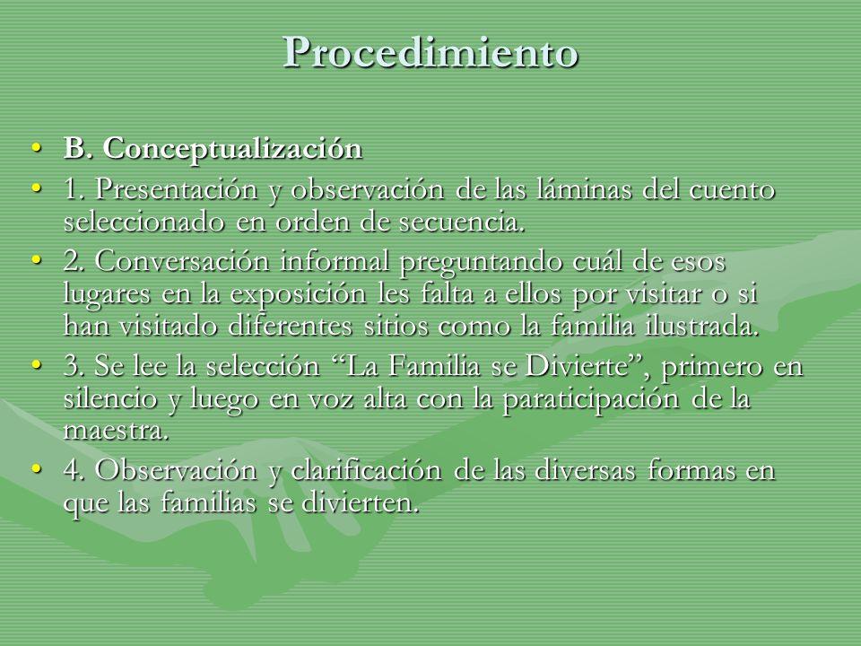 Procedimiento B. ConceptualizaciónB. Conceptualización 1. Presentación y observación de las láminas del cuento seleccionado en orden de secuencia.1. P