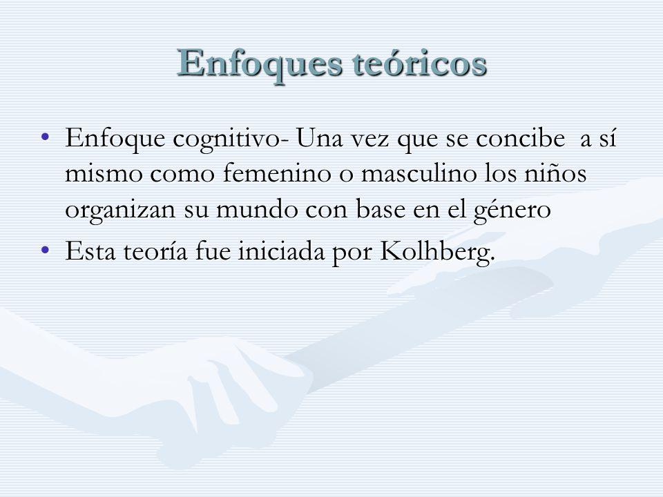 Enfoques teóricos Enfoque cognitivo- Una vez que se concibe a sí mismo como femenino o masculino los niños organizan su mundo con base en el géneroEnf