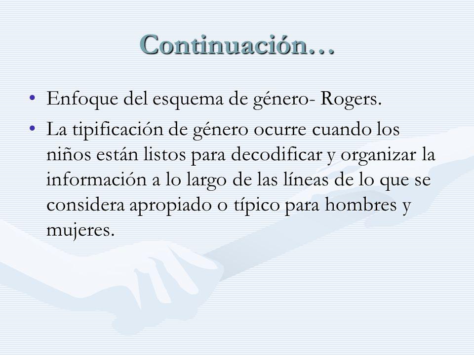 Continuación… Enfoque del esquema de género- Rogers.Enfoque del esquema de género- Rogers. La tipificación de género ocurre cuando los niños están lis
