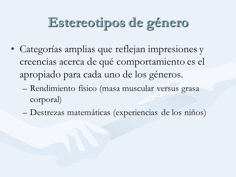 Estereotipos de género Categorías amplias que reflejan impresiones y creencias acerca de qué comportamiento es el apropiado para cada uno de los géner