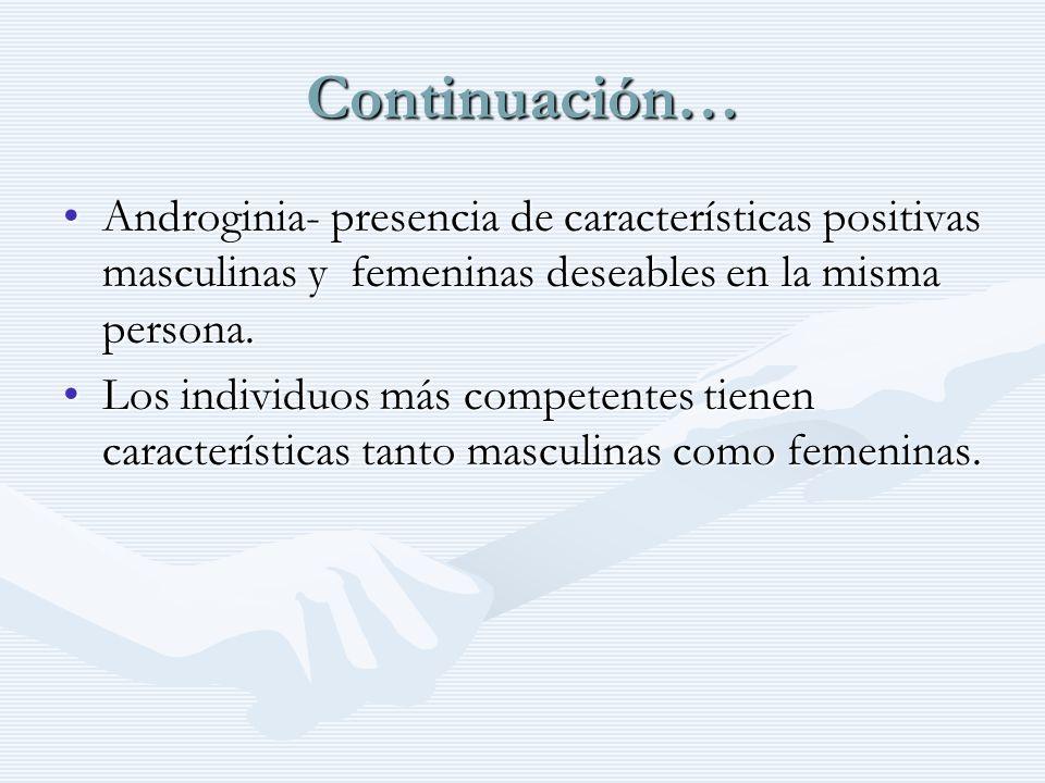 Continuación… Androginia- presencia de características positivas masculinas y femeninas deseables en la misma persona.Androginia- presencia de caracte