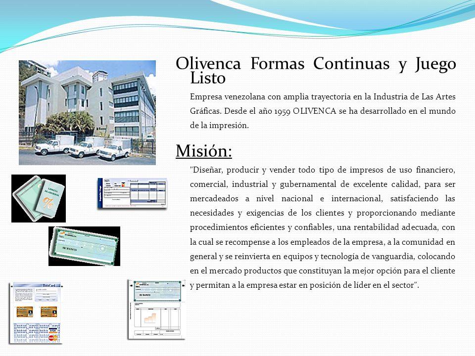 Olivenca Formas Continuas y Juego Listo Empresa venezolana con amplia trayectoria en la Industria de Las Artes Gráficas. Desde el año 1959 OLIVENCA se