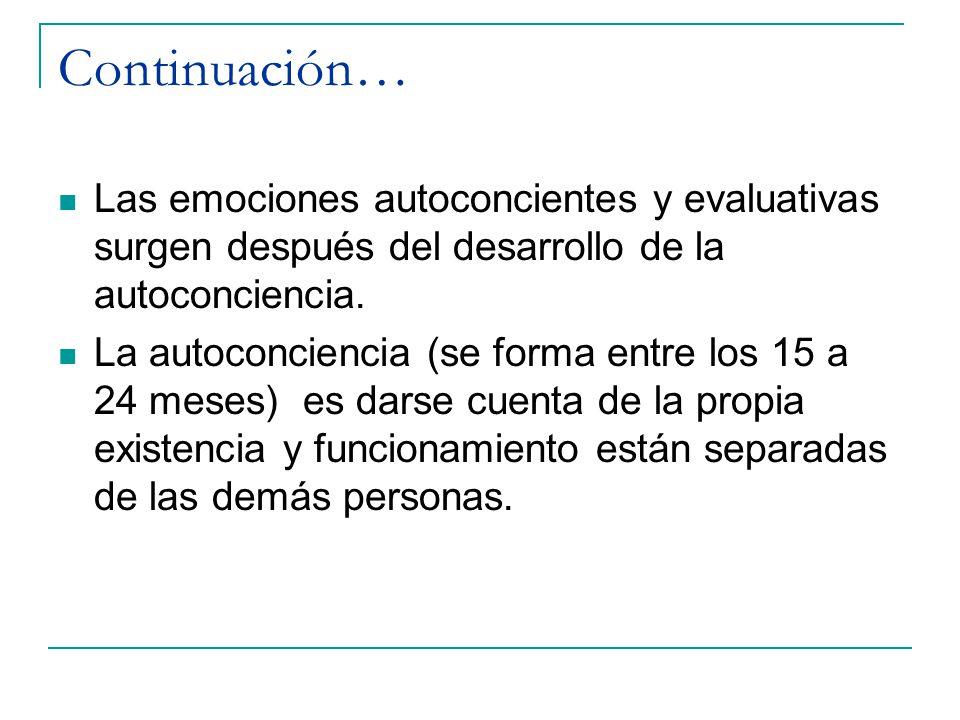 Continuación… Las emociones autoconcientes y evaluativas surgen después del desarrollo de la autoconciencia. La autoconciencia (se forma entre los 15