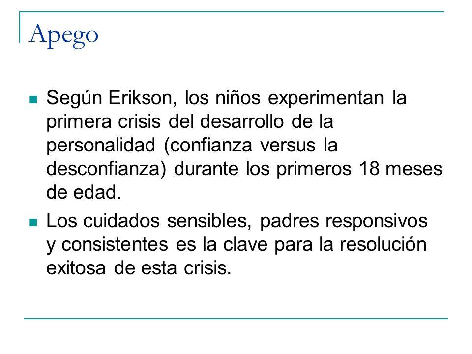 Apego Según Erikson, los niños experimentan la primera crisis del desarrollo de la personalidad (confianza versus la desconfianza) durante los primero