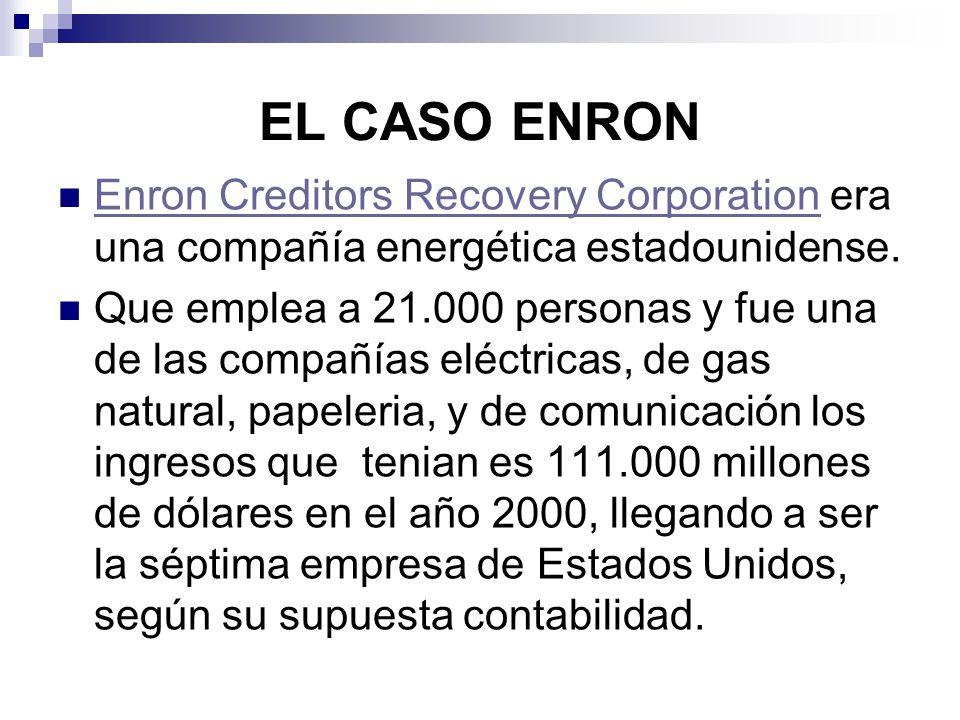 EL CASO ENRON Enron Creditors Recovery Corporation era una compañía energética estadounidense. Enron Creditors Recovery Corporation Que emplea a 21.00