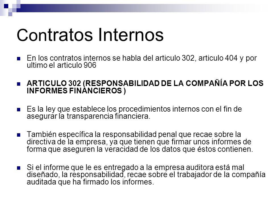 Con tratos Internos En los contratos internos se habla del articulo 302, articulo 404 y por ultimo el articulo 906 ARTICULO 302 (RESPONSABILIDAD DE LA
