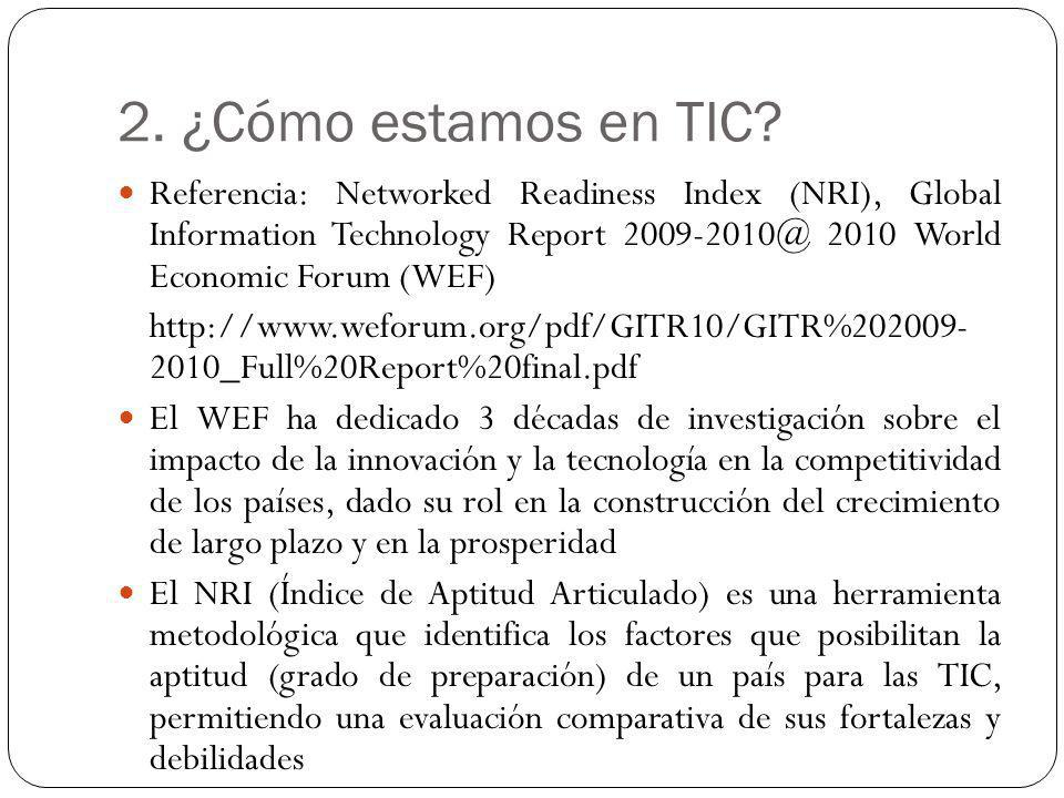 2. ¿Cómo estamos en TIC? Referencia: Networked Readiness Index (NRI), Global Information Technology Report 2009-2010@ 2010 World Economic Forum (WEF)