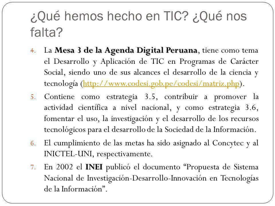 ¿Qué hemos hecho en TIC? ¿Qué nos falta? Mesa 3 de la Agenda Digital Peruana 4. La Mesa 3 de la Agenda Digital Peruana, tiene como tema el Desarrollo