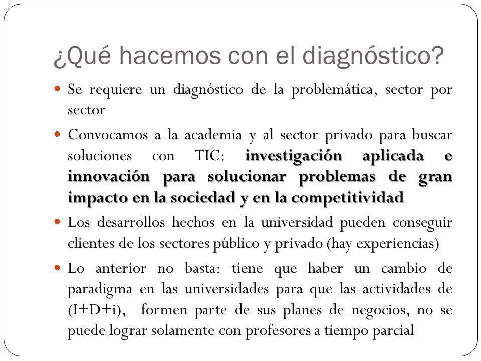 ¿Qué hacemos con el diagnóstico? Se requiere un diagnóstico de la problemática, sector por sector investigación aplicada e innovación para solucionar