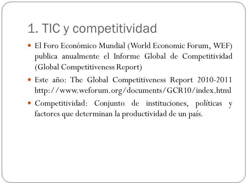 1. TIC y competitividad El Foro Económico Mundial (World Economic Forum, WEF) publica anualmente el Informe Global de Competitividad (Global Competiti