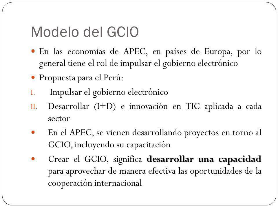 Modelo del GCIO En las economías de APEC, en países de Europa, por lo general tiene el rol de impulsar el gobierno electrónico Propuesta para el Perú: