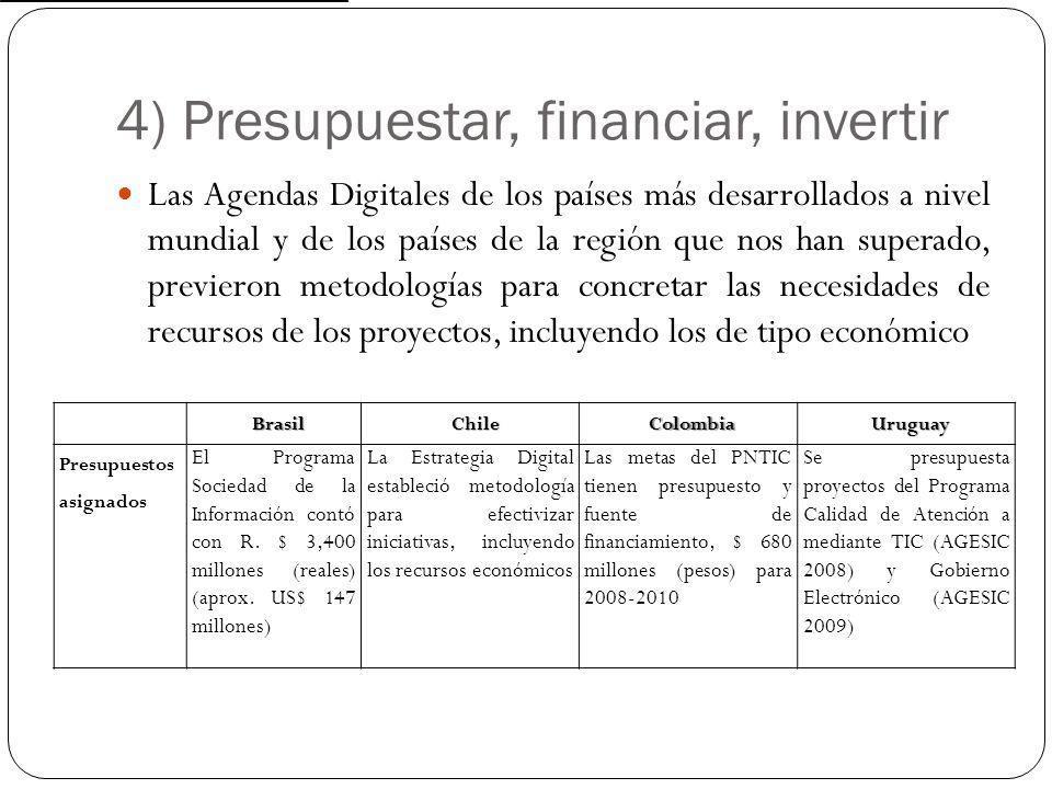 4) Presupuestar, financiar, invertir Las Agendas Digitales de los países más desarrollados a nivel mundial y de los países de la región que nos han su