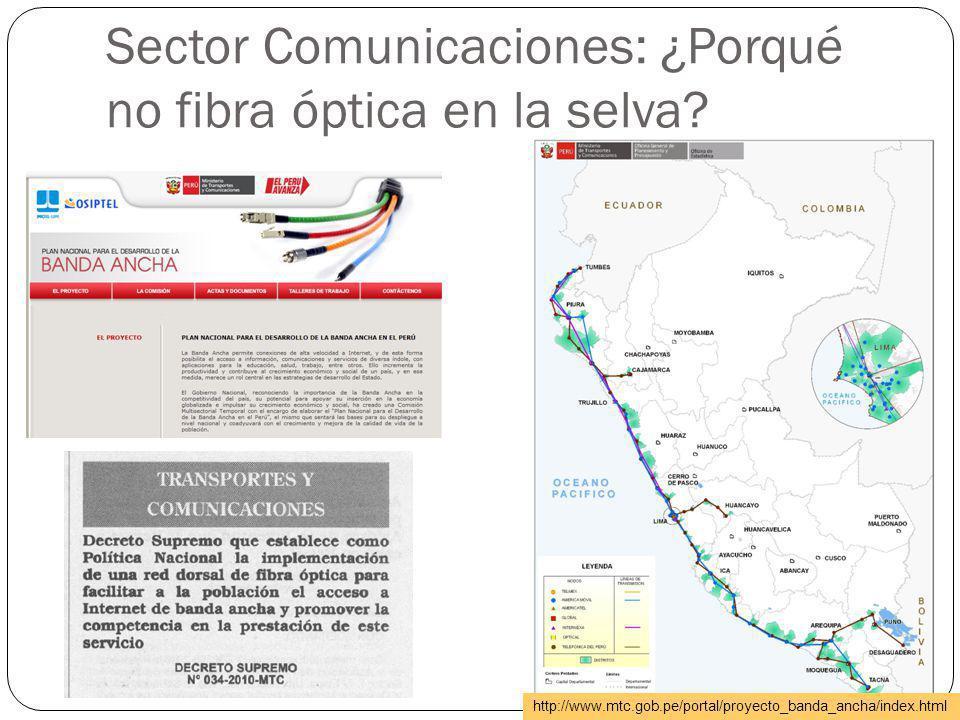 Sector Comunicaciones: ¿Porqué no fibra óptica en la selva? http://www.mtc.gob.pe/portal/proyecto_banda_ancha/index.html