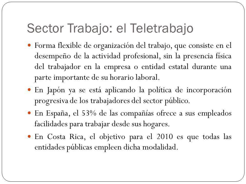 Sector Trabajo: el Teletrabajo Forma flexible de organización del trabajo, que consiste en el desempeño de la actividad profesional, sin la presencia