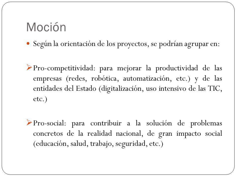 Moción Según la orientación de los proyectos, se podrían agrupar en: Pro-competitividad: para mejorar la productividad de las empresas (redes, robótic