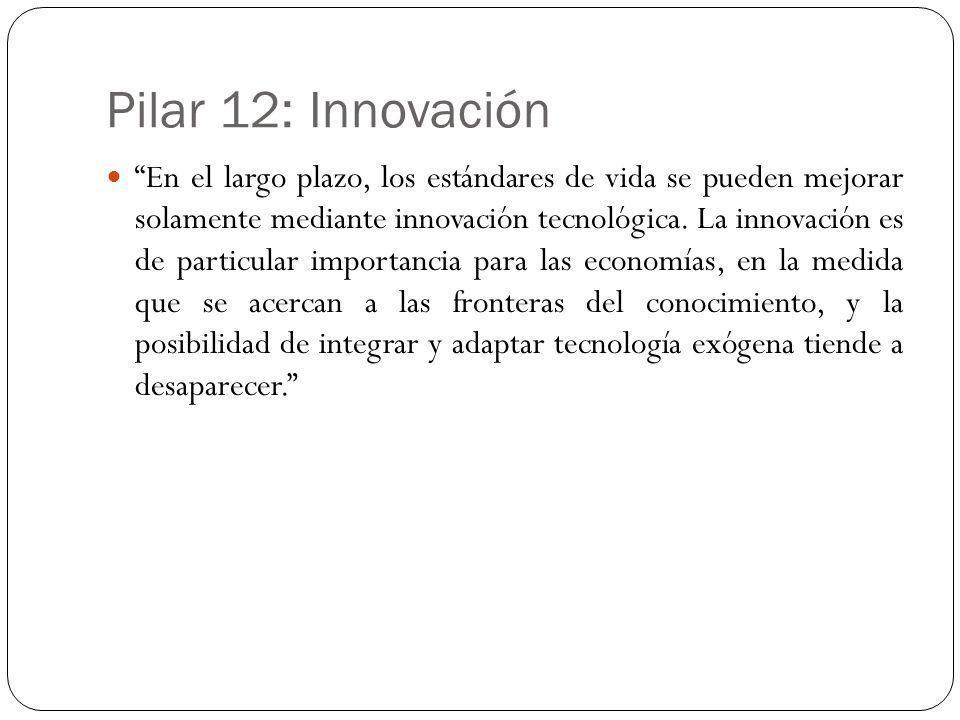Pilar 12: Innovación En el largo plazo, los estándares de vida se pueden mejorar solamente mediante innovación tecnológica. La innovación es de partic