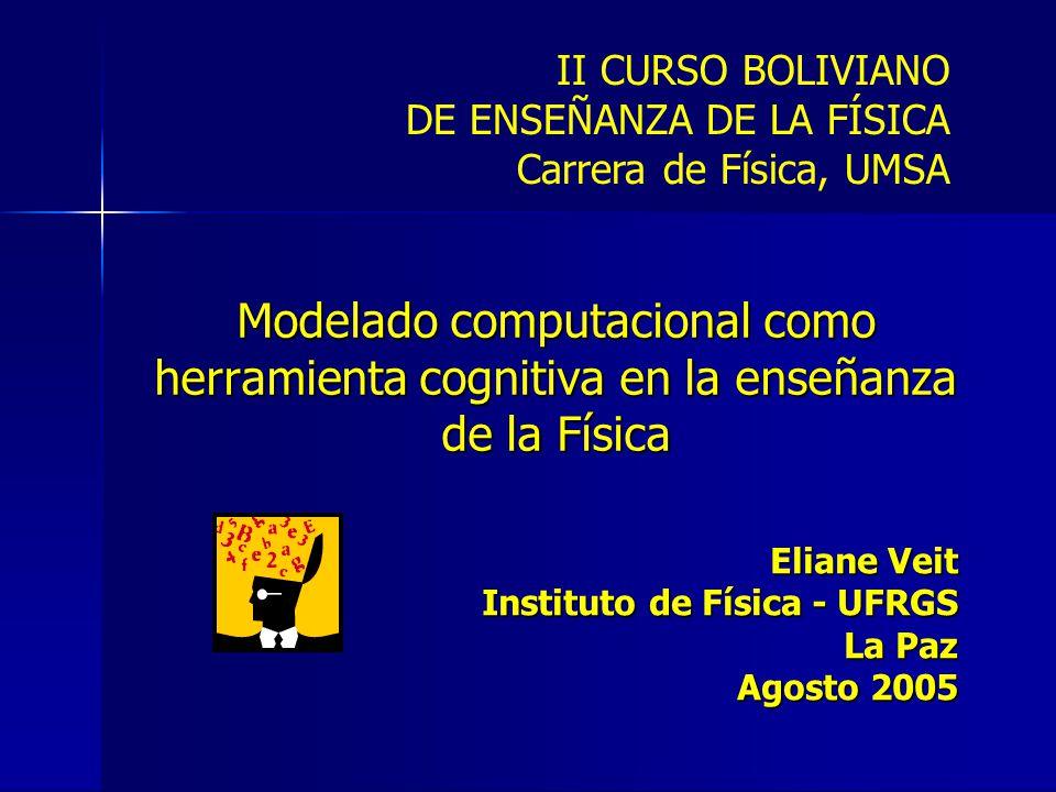 Modelado computacional como herramienta cognitiva en la enseñanza de la Física Eliane Veit Instituto de Física - UFRGS La Paz Agosto 2005 II CURSO BOLIVIANO DE ENSEÑANZA DE LA FÍSICA Carrera de Física, UMSA