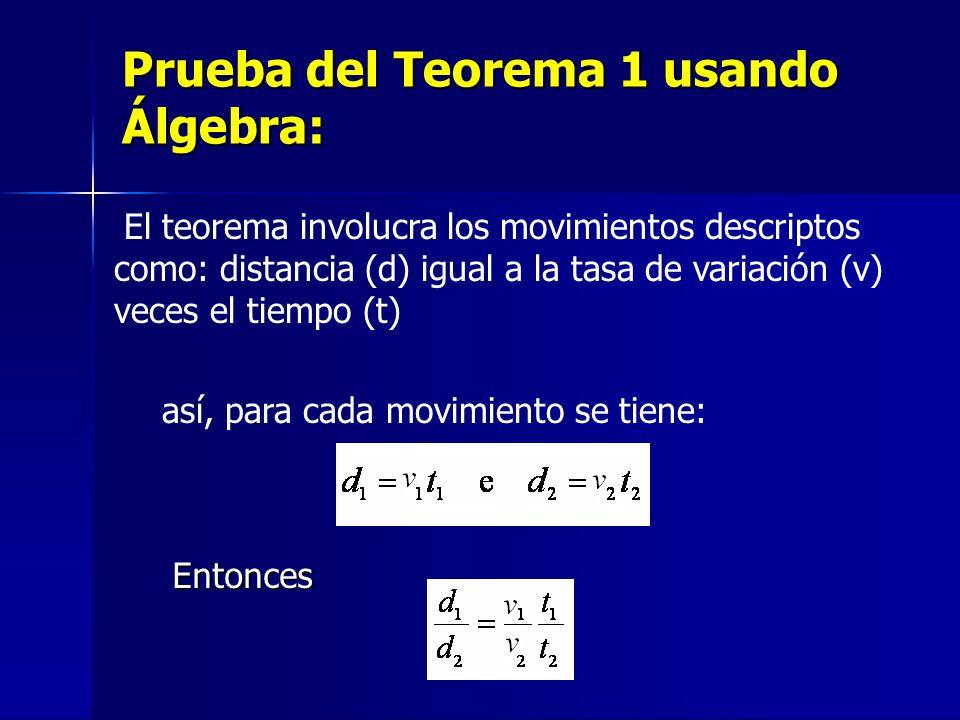 Prueba del Teorema 1 usando Álgebra: Entonces El teorema involucra los movimientos descriptos como: distancia (d) igual a la tasa de variación (v) veces el tiempo (t) así, para cada movimiento se tiene:
