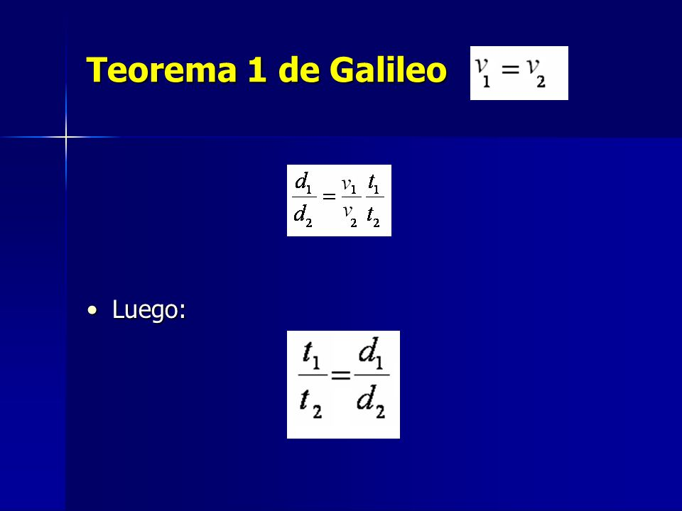 Teorema 1 de Galileo Luego:Luego: