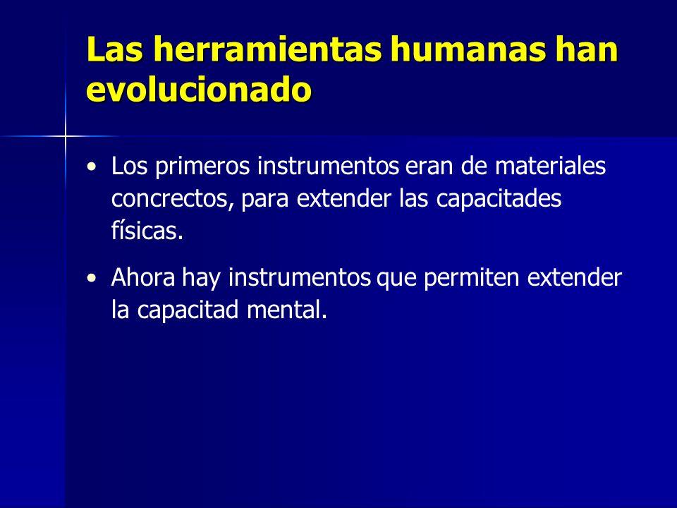Las herramientas humanas han evolucionado Los primeros instrumentos eran de materiales concrectos, para extender las capacitades físicas.