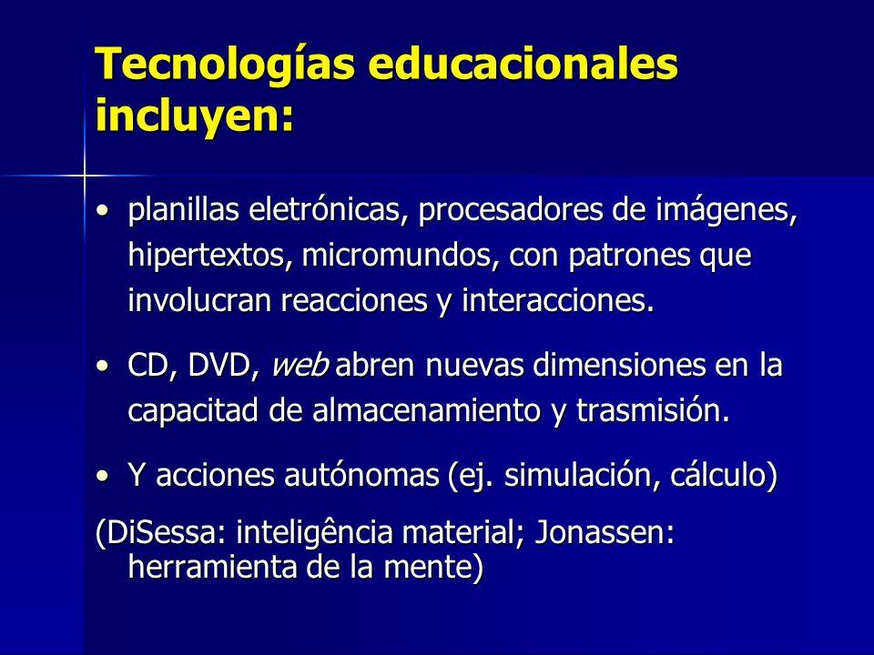 Tecnologías educacionales incluyen: planillas eletrónicas, procesadores de imágenes, hipertextos, micromundos, con patrones que involucran reacciones y interacciones.planillas eletrónicas, procesadores de imágenes, hipertextos, micromundos, con patrones que involucran reacciones y interacciones.
