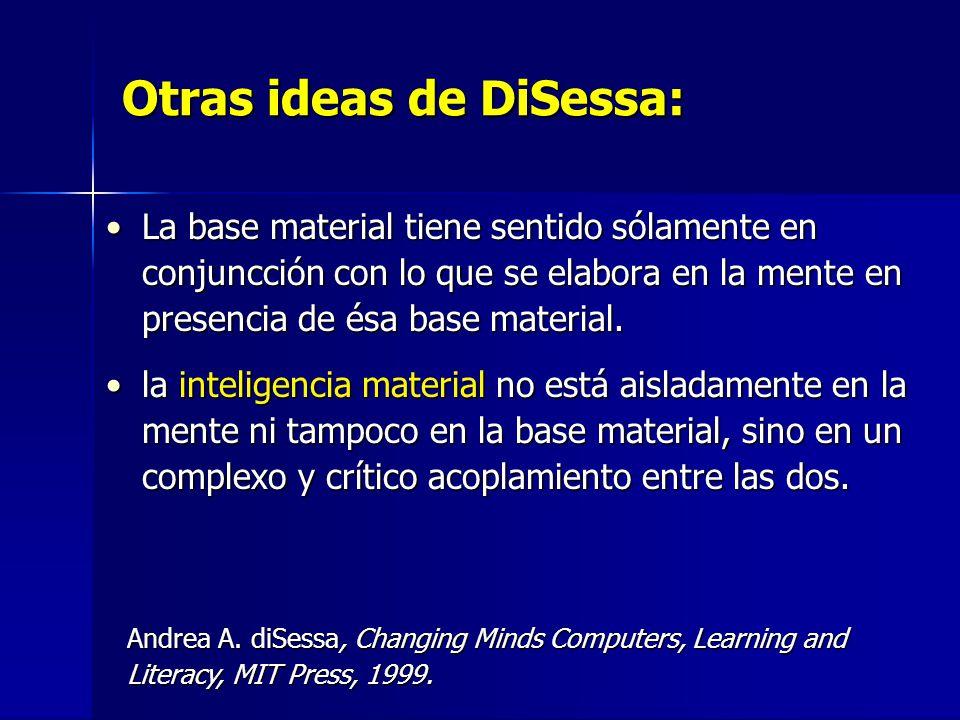 Otras ideas de DiSessa: La base material tiene sentido sólamente en conjuncción con lo que se elabora en la mente en presencia de ésa base material.La base material tiene sentido sólamente en conjuncción con lo que se elabora en la mente en presencia de ésa base material.