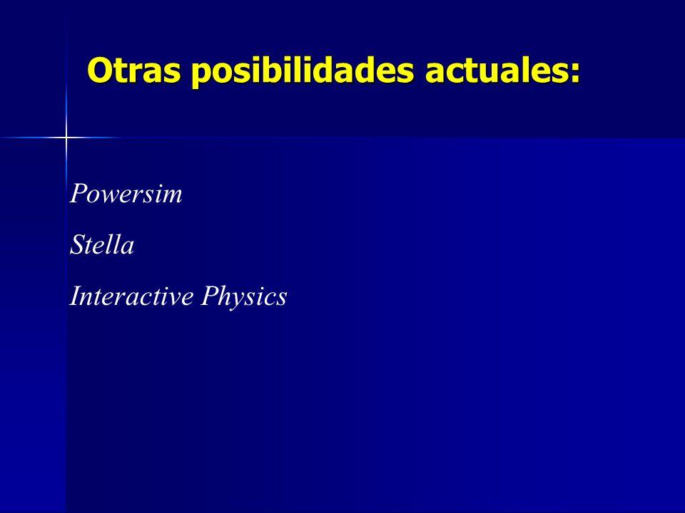 Otras posibilidades actuales: Powersim Stella Interactive Physics