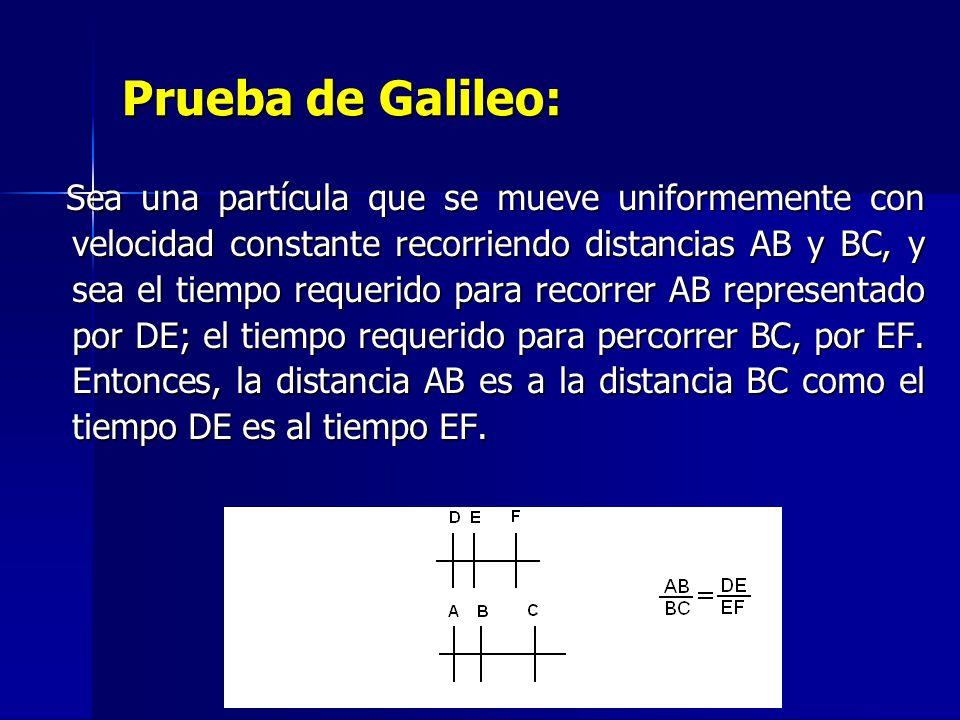 Prueba de Galileo: Sea una partícula que se mueve uniformemente con velocidad constante recorriendo distancias AB y BC, y sea el tiempo requerido para recorrer AB representado por DE; el tiempo requerido para percorrer BC, por EF.