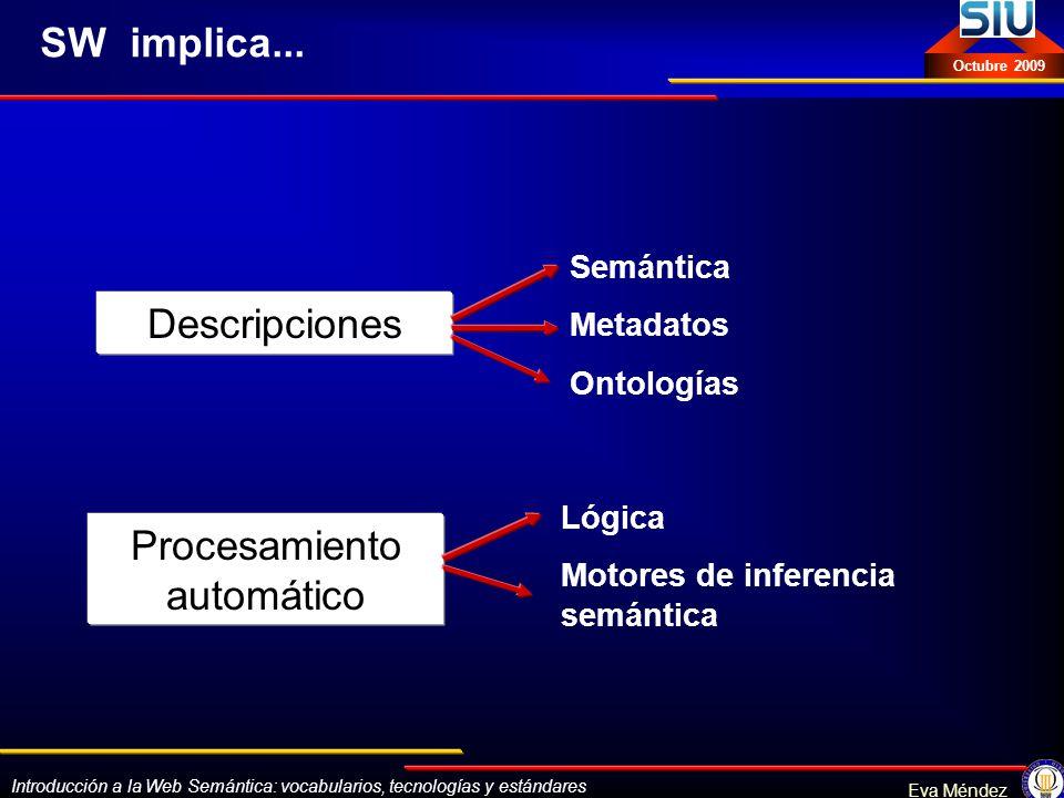 Introducción a la Web Semántica: vocabularios, tecnologías y estándares Eva Méndez Octubre 2009 SW implica... Descripciones Procesamiento automático S