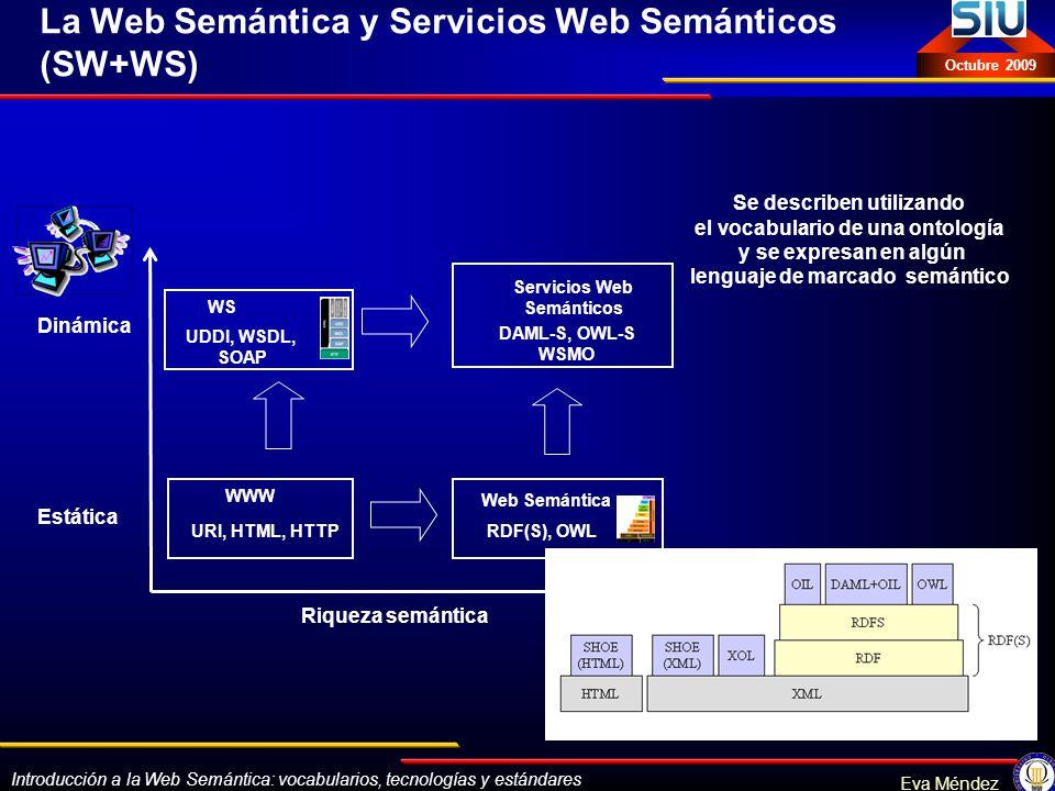 Introducción a la Web Semántica: vocabularios, tecnologías y estándares Eva Méndez Octubre 2009 La Web Semántica y Servicios Web Semánticos (SW+WS) Es