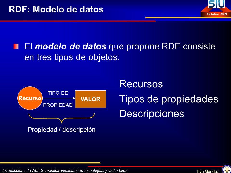 Introducción a la Web Semántica: vocabularios, tecnologías y estándares Eva Méndez Octubre 2009 RDF: Modelo de datos El modelo de datos que propone RD