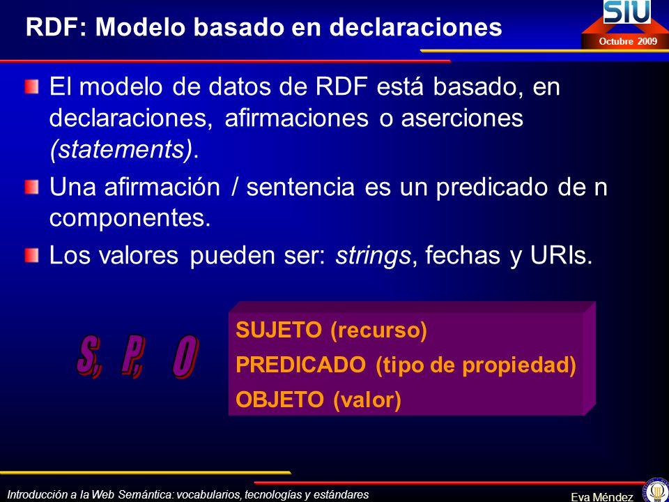 Introducción a la Web Semántica: vocabularios, tecnologías y estándares Eva Méndez Octubre 2009 RDF: Modelo basado en declaraciones El modelo de datos