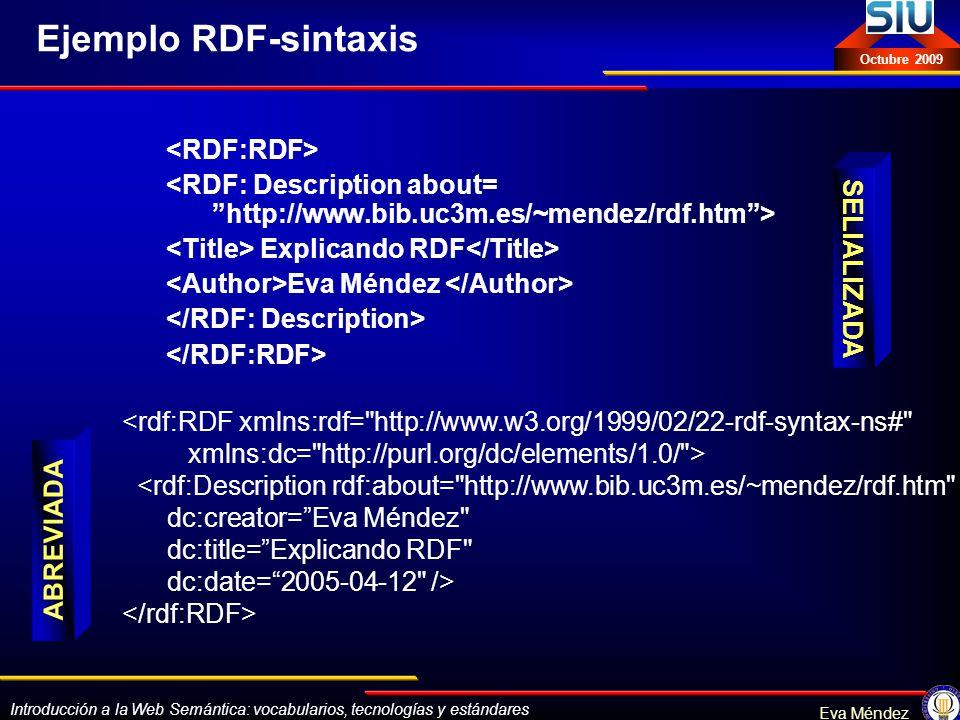 Introducción a la Web Semántica: vocabularios, tecnologías y estándares Eva Méndez Octubre 2009 Ejemplo RDF-sintaxis Explicando RDF Eva Méndez <rdf:RD