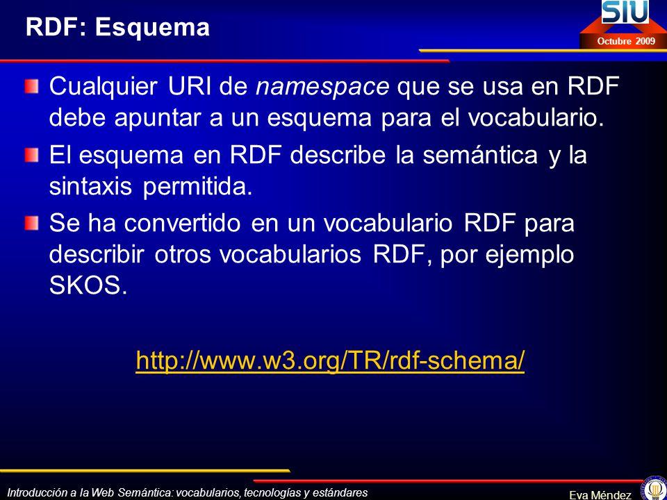 Introducción a la Web Semántica: vocabularios, tecnologías y estándares Eva Méndez Octubre 2009 RDF: Esquema Cualquier URI de namespace que se usa en