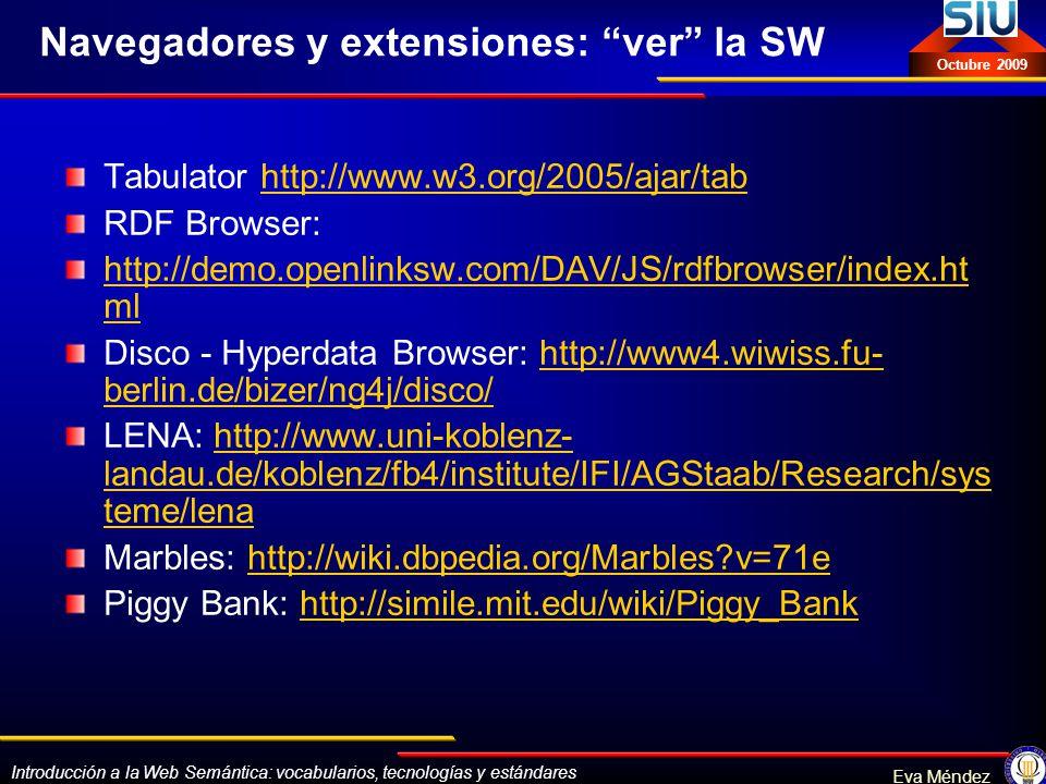 Introducción a la Web Semántica: vocabularios, tecnologías y estándares Eva Méndez Octubre 2009 Navegadores y extensiones: ver la SW Tabulator http://