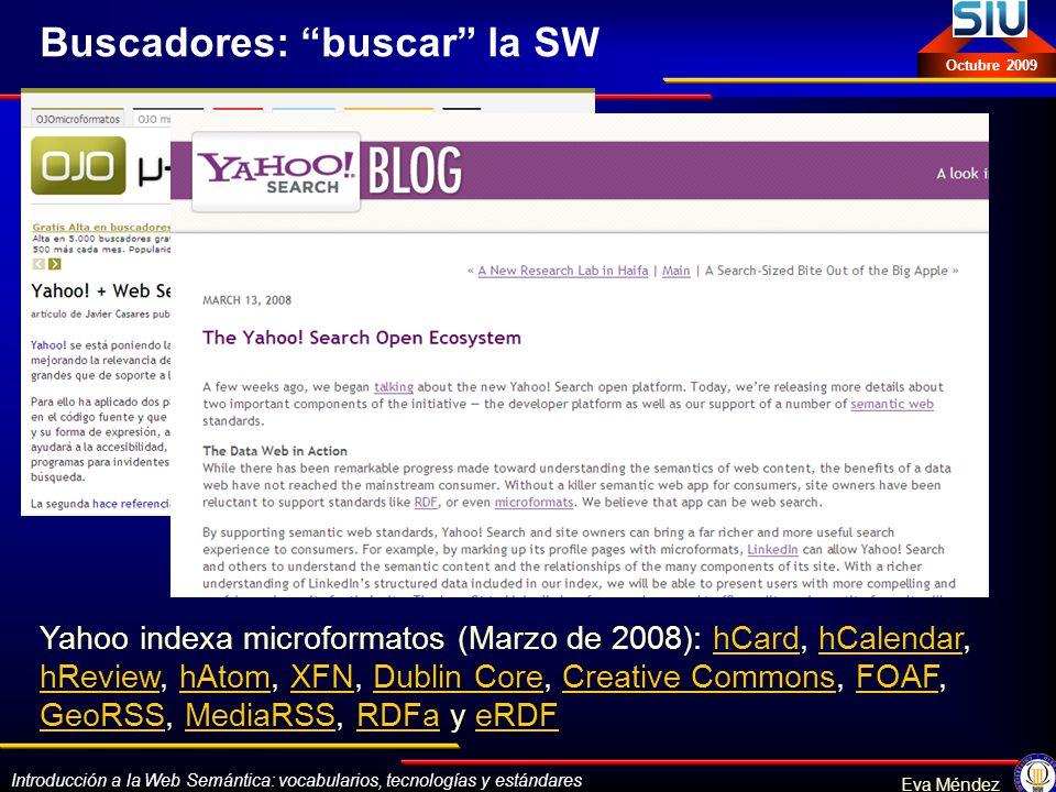 Introducción a la Web Semántica: vocabularios, tecnologías y estándares Eva Méndez Octubre 2009 Buscadores: buscar la SW Yahoo indexa microformatos (M