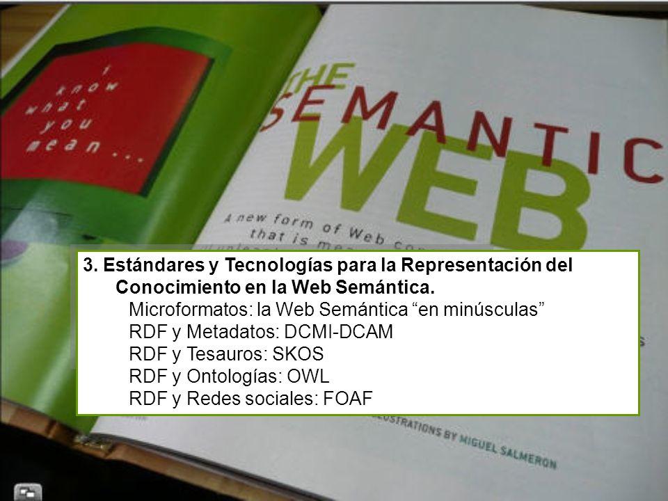 3. Estándares y Tecnologías para la Representación del Conocimiento en la Web Semántica. Microformatos: la Web Semántica en minúsculas RDF y Metadatos