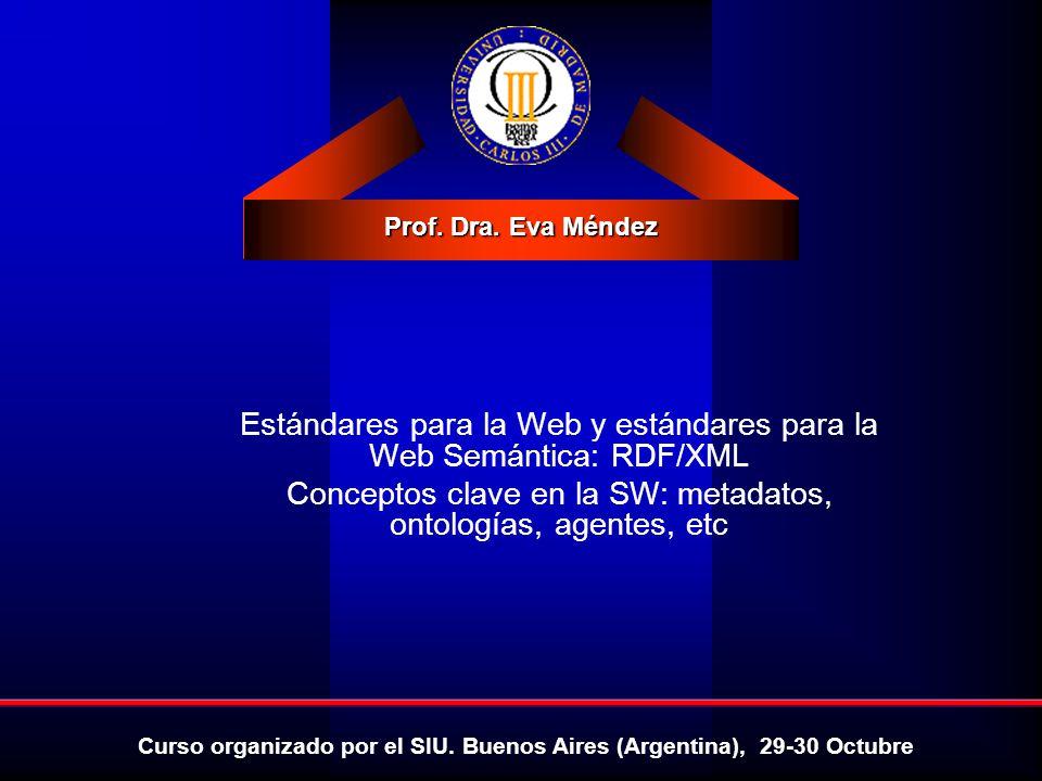 Introducción a la Web Semántica: vocabularios, tecnologías y estándares Eva Méndez Octubre 2009 RDF: Propiedades (contenedores) <RDF xmlns= http://www.w3.org/1999/02/22-rdf-syntax-ns# xmlns:DC= http://purl.org/metadata/dublin_core/ > Ora Lassila