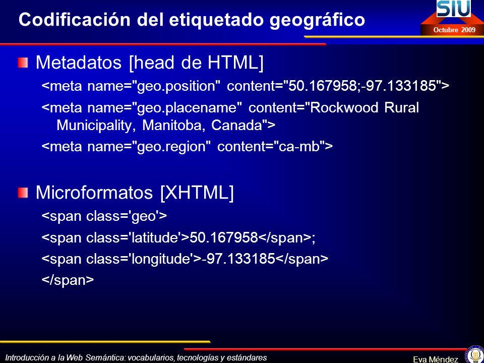 Introducción a la Web Semántica: vocabularios, tecnologías y estándares Eva Méndez Octubre 2009 Codificación del etiquetado geográfico Metadatos [head