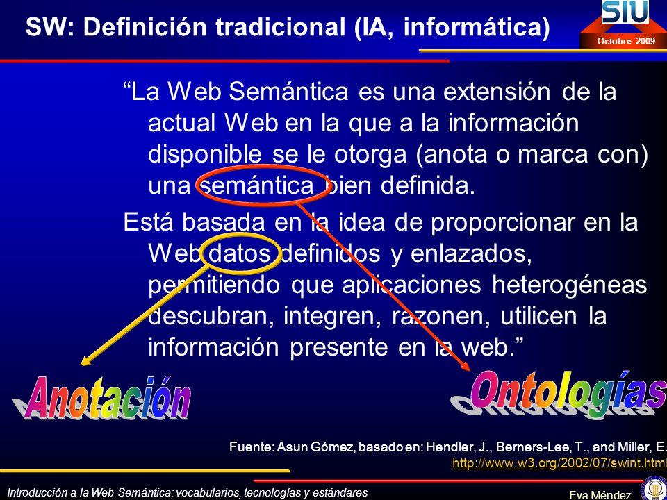 Introducción a la Web Semántica: vocabularios, tecnologías y estándares Eva Méndez Octubre 2009 Ejemplo RDF-sintaxis Explicando RDF Eva Méndez <rdf:RDF xmlns:rdf= http://www.w3.org/1999/02/22-rdf-syntax-ns# xmlns:dc= http://purl.org/dc/elements/1.0/ > <rdf:Description rdf:about= http://www.bib.uc3m.es/~mendez/rdf.htm dc:creator=Eva Méndez dc:title=Explicando RDF dc:date=2005-04-12 /> SELIALIZADA ABREVIADA