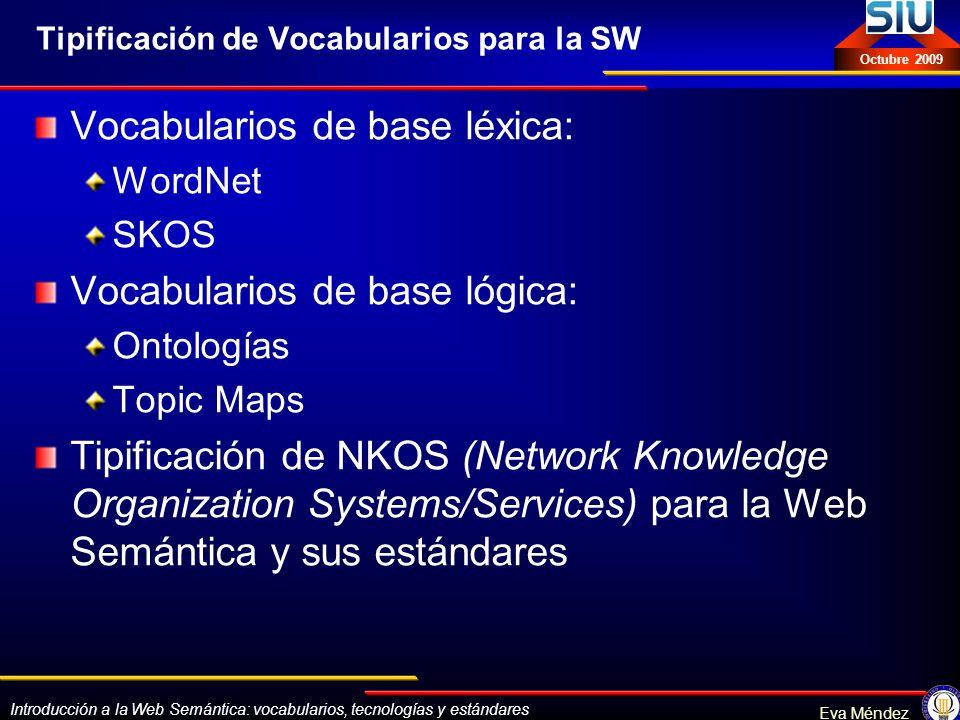 Introducción a la Web Semántica: vocabularios, tecnologías y estándares Eva Méndez Octubre 2009 Tipificación de Vocabularios para la SW Vocabularios d