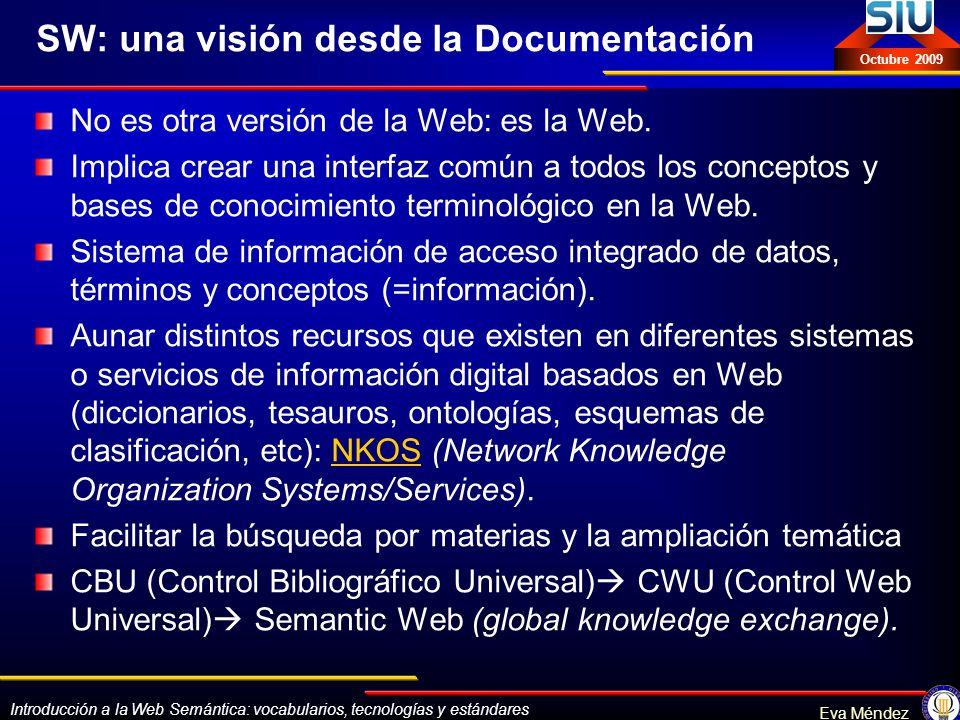 Introducción a la Web Semántica: vocabularios, tecnologías y estándares Eva Méndez Octubre 2009 Aproximación a los principales estándares SPARQLSPARQL: Simple Protocol and RDF Query Language (protocolo y lenguaje de interrogación para RDF) RIFRIF: Rule Interchange Format GRDDLGRDDL: Gleaning Resource Descriptions from Dialects of Languages, para transformar XML y XHTML a RDF SAWSDLSAWSDL: Semantic Annotations for Web Service Definitions (WSDL) típicamente utilizado en modelizaciones RDF y OWL.