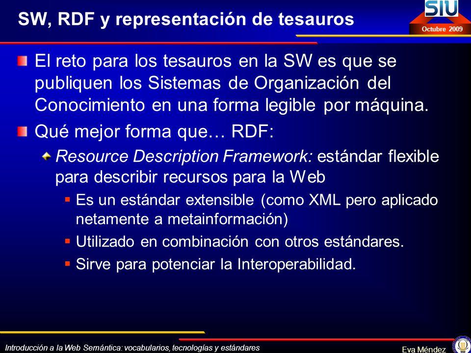 Introducción a la Web Semántica: vocabularios, tecnologías y estándares Eva Méndez Octubre 2009 SW, RDF y representación de tesauros El reto para los