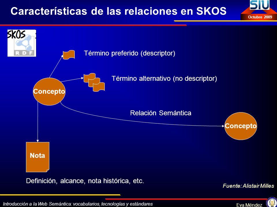 Introducción a la Web Semántica: vocabularios, tecnologías y estándares Eva Méndez Octubre 2009 Concepto Término preferido (descriptor) Término altern