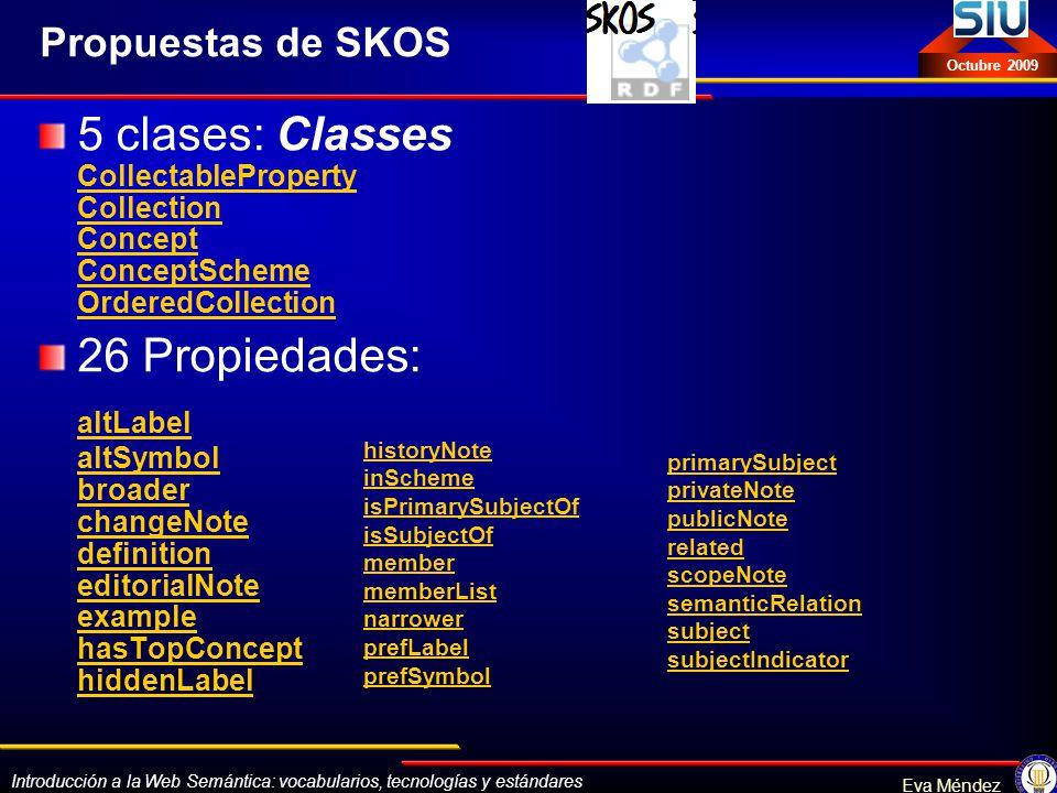 Introducción a la Web Semántica: vocabularios, tecnologías y estándares Eva Méndez Octubre 2009 Propuestas de SKOS 5 clases: Classes CollectableProper