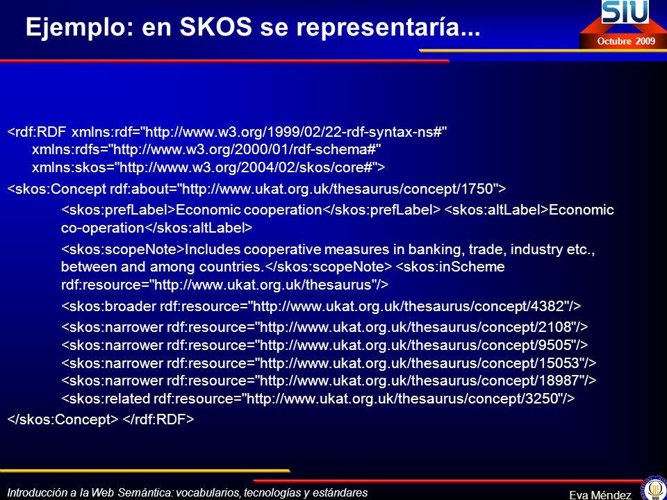 Introducción a la Web Semántica: vocabularios, tecnologías y estándares Eva Méndez Octubre 2009 Ejemplo: en SKOS se representaría... Economic cooperat